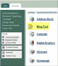 blog tools menu